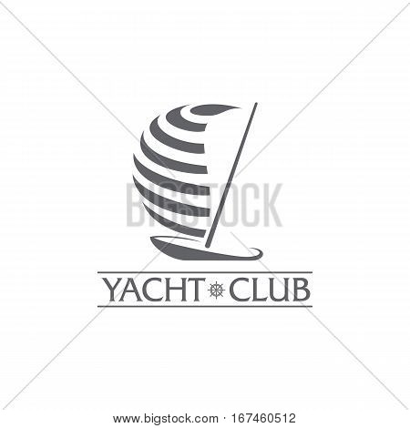 Black and white graphic yacht club, sailing sport logo template with steering wheel, vector illustration isolated on white background. Graphic yacht, sail boat logotype, logo design