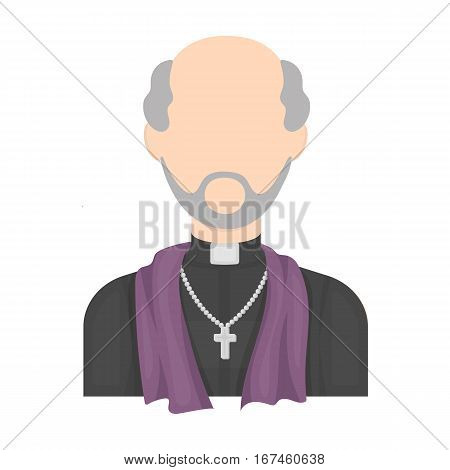 Priest icon in cartoon design isolated on white background. Funeral ceremony symbol stock vector illustration.