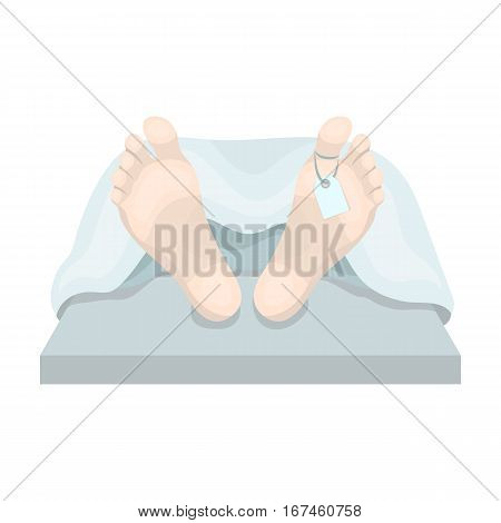Deceased with tag icon in cartoon design isolated on white background. Funeral ceremony symbol stock vector illustration.