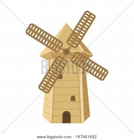 Spanish mill icon in cartoon design isolated on white background. Spain country symbol stock vector illustration.