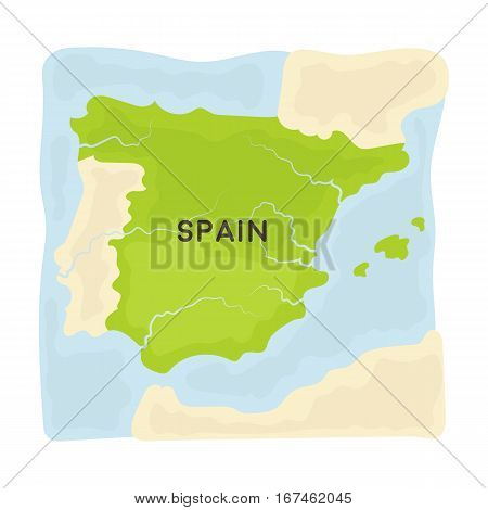 Territory of Spain icon in cartoon design isolated on white background. Spain country symbol stock vector illustration.