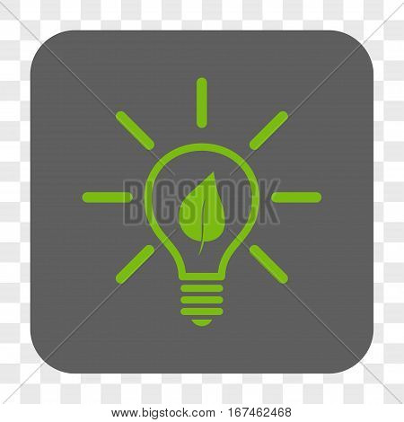 Eco Light Bulb interface toolbar button. Vector icon style is a flat symbol in a rounded square button light green and gray colors chess transparent background.