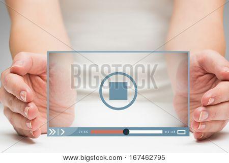 Hands presenting against grey vignette 3d