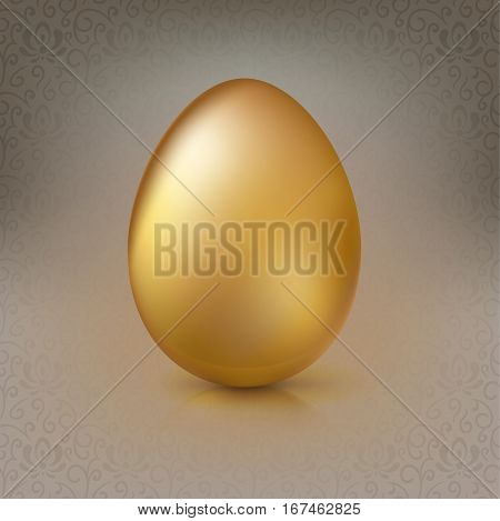 Golden egg on the background with floral pattern. Happy Easter greeting card decorated floral elements on bright background. Template for vip banners or card, exclusive certificate, luxury voucher