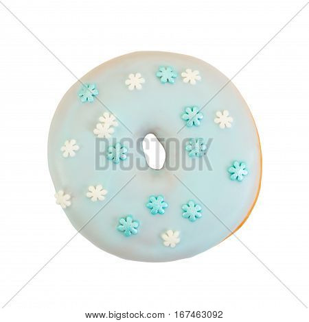 Donut With Blue Glaze And Decorative Sprinkles