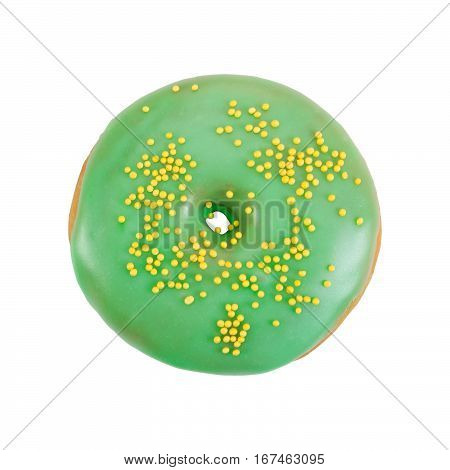 Donut With Green Glaze And Yellow Sprinkles Isolated