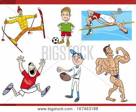 Sportsmen Cartoon Set