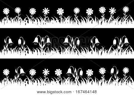 Set seamless silhouette grass and flowers. Vector illustration.