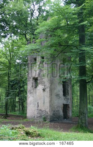 Tower Ruin In The Forest