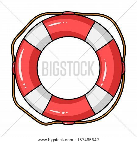 Lifebuoy icon in cartoon design isolated on white background. Surfing symbol stock vector illustration.