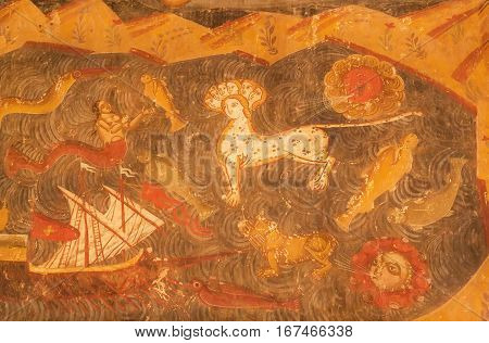 MTSKHETA, GEORGIA - OCT 13, 2016: Mythical animals from the biblical stories on frescoes of christian Svetitskhoveli Cathedral on October 13, 2016. Cathedral was built in 4th century. UNESCO Heritage Site