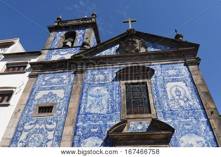 Capela das Almas church and its walls which are covered with tilesOportoPortugal