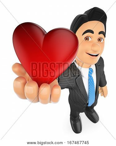 3d business people illustration. Businessman with a big red heart. Isolated white background.