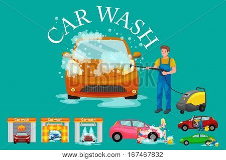 contactless car washing services, bikini model girl cleaning auto with soap and water, vehicle interior vacuum cleaner, isolated man drying automobile vector illustration.