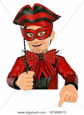 3d show business people illustration. Man with a carnival costume pointing down. Blank space. Isolated white background.