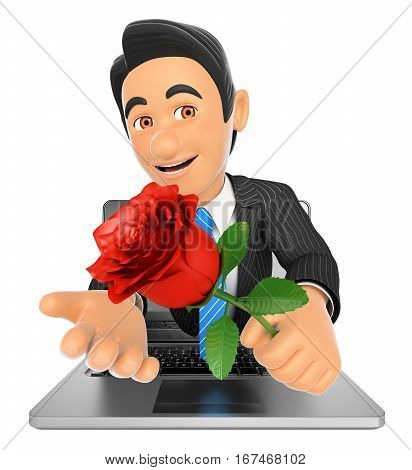 3d business people illustration. Businessman coming out a laptop screen with a red rose. Isolated white background.