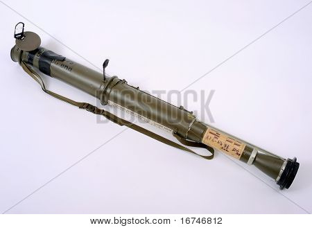 Rpg75 Anti Tank Rocket Launcher In Firing Mode