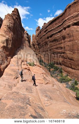 Hikers in a canyon