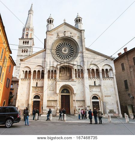 People Near Cathedral In Modena City