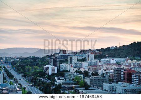 Sunset Sky Over Of Avenue Avinguda Diagonal