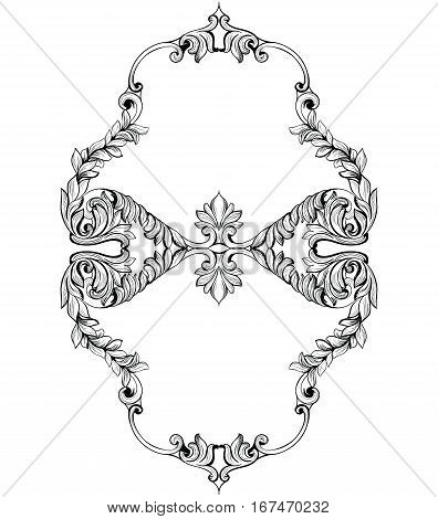 Imperial Baroque Mirror frame. Vector French Luxury rich intricate ornaments and crystals. Victorian Royal Style decor original shape