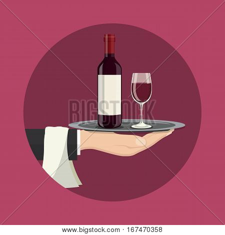 Hand holding a silver tray with wine bottle and glass . Drinks Service icon. vector illustration in flat style