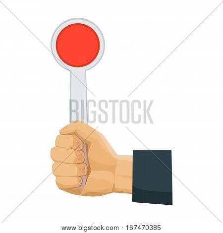 Hand holding stop sign icon in cartoon design isolated on white background. Parking zone symbol stock vector illustration.