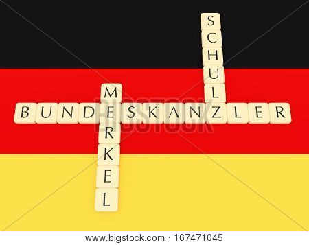 BERLIN GERMANY - JANUARY 30 2017: Germany Bundestag Election 2017: Letter Tiles Creating Words Bundeskanzler (Chancellor) Merkel And Schulz with German flag 3d illustration