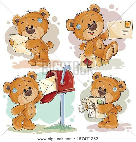 Set of vector clip art illustrations of teddy bear gets and sends letters