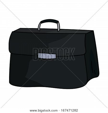 Briefcase icon in cartoon design isolated on white background. Conference and negetiations symbol stock vector illustration.