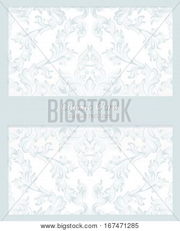 Vintage Baroque Invitation card Imperial style. Vector decor background. Luxury Delicate Classic ornament. Royal Victorian floral for birthday, wedding, textile print, wrapping paper. Blue color