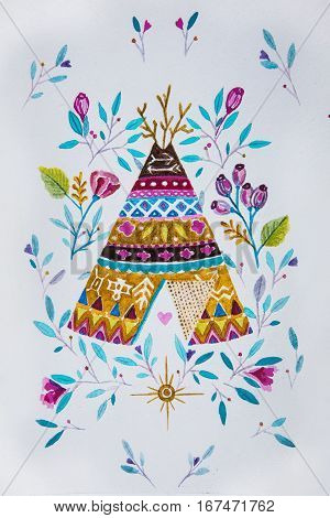 Sketch American tepee with flowers on white background.