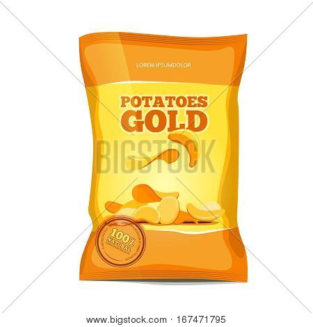 Crisp potato chips snacks vector bag package. Salted chips package, illustration of nutrition chips pack