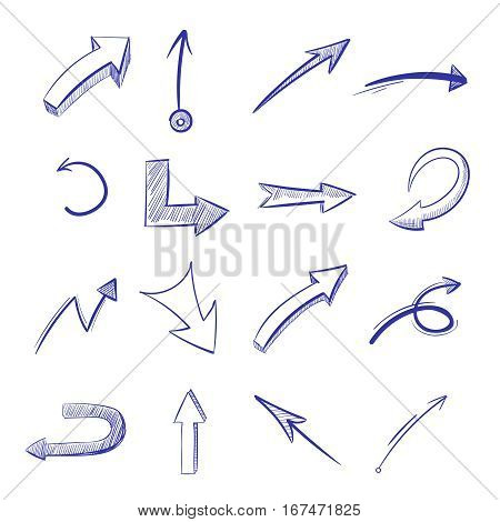 Vector hand drawn curved arrows. Drawing curve arrow, illustration of arrow painted pen
