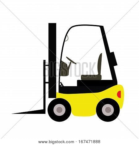 fork lift truck in trendy flat style isolated on white background. fork lift sign.