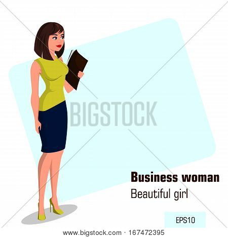 Young cartoon businesswoman in office dress holding document case. Beautiful brunette girl preparing for meeting. Isometric business woman with 3D effect for infographic design element. Vector