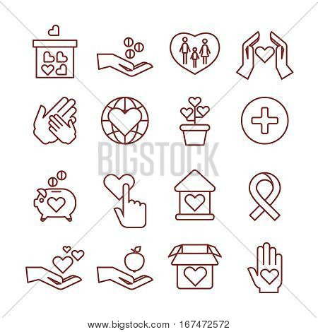 Charity giving, sponsorship, donation, humanitarian, giving money to child vector linear icons. Giving and help people illustration symbol