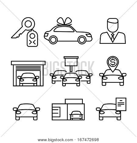 Car dealerships, purchase and sale of cars line vector icons for automobile shop, dealer car sales illustration