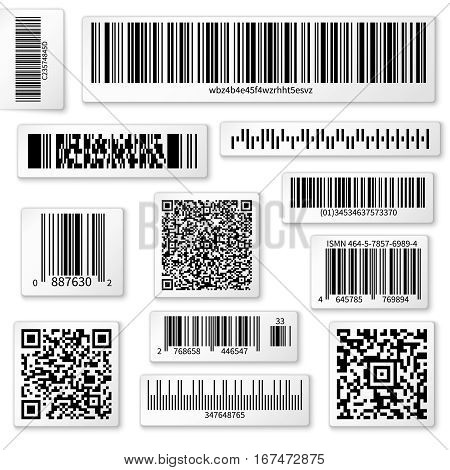 Packaging labels, bar and QR codes on white vector stickers. Code QR for identification product in shop, scan data with using bar code illustration poster
