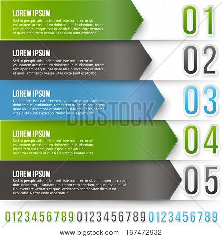Green and gray arrows with numbered options. vector infographics design template with number features
