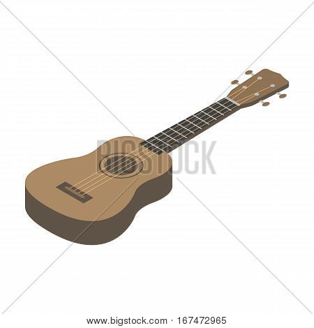 Acoustic bass guitar icon in cartoon design isolated on white background. Musical instruments symbol stock vector illustration.