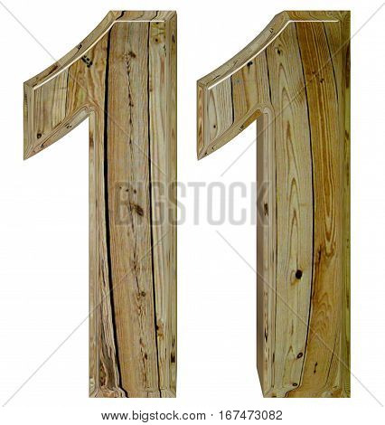 Numeral 11, Eleven, Isolated On White Background, 3D Render