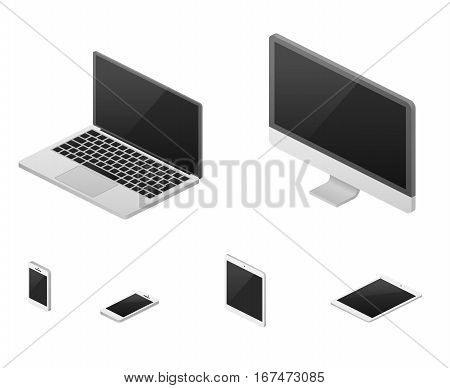Isometric 3d laptop, tablet, smartphone, computer screen responsive web design vector elements. Set of device with flat screen, illustration of device for communication