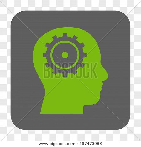 Intellect interface toolbar button. Vector icon style is a flat symbol on a rounded square button light green and gray colors chess transparent background.
