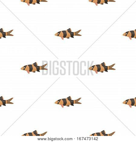Botia clown Botia macracantha fish icon cartoon. Singe aquarium fish icon from the sea, ocean life cartoon. - stock vector