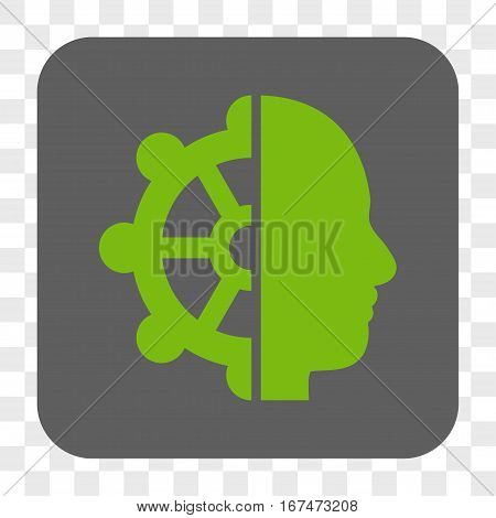 Intellect interface toolbar button. Vector icon style is a flat symbol in a rounded square button light green and gray colors chess transparent background.