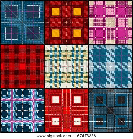 Plaid tartan, british, buffalo seamless vector fabric pattern. Set of pattern scottish, illustration of striped cloth pattern