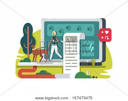 Blogging about life in internet. Write blog for social network. Vector illustration