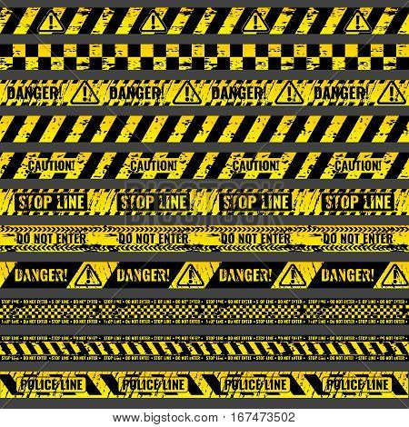 Crime accident scene caution, warning police vector grungy yellow and black tapes. Ribbon stop line, illustration set of ribbons for area barriers