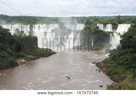 Iguassu waterfall on the Brazilian side, Unesco heritage